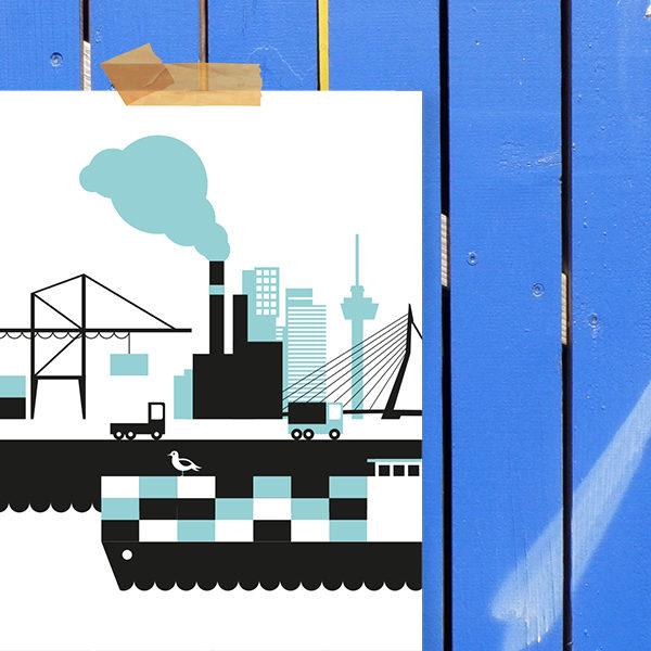 Poster Rotterdam Haven ANNIdesign blauw_02