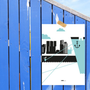 Poster Rotterdam Maas ANNIdesign blauw_01