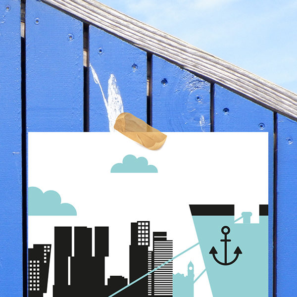 Poster Rotterdam Maas ANNIdesign blauw_02