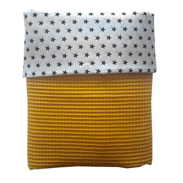 Ledikant deken zwarte ster op wit met oker wafelstof ANNIdesign