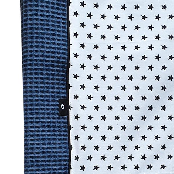 Aankleedkussenhoes Ster op Wit_ANNIdesign_Wafelstof donker oudblauw_02