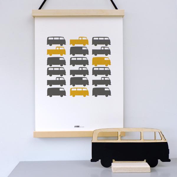 Poster Busjes collage oker geel ANNIdesign 03