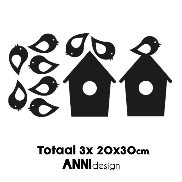 Muursticker Vogelhuis zwart ANNIdesign 02