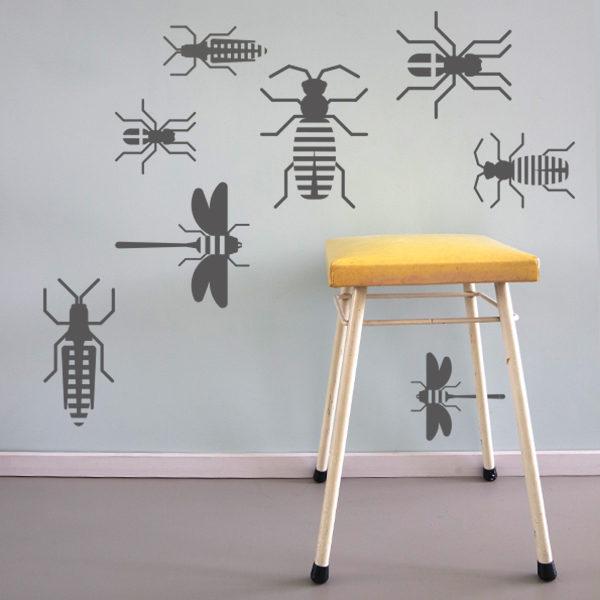 Muursticker set Insect grijs_ANNIdesign_03