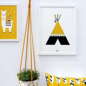 Poster Indiaan Tipi oker geel ANNIdesign 03