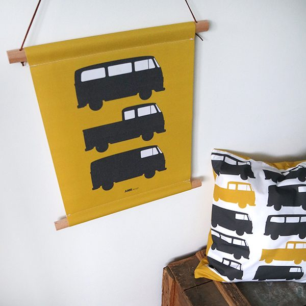 Textielposter Bus oker ANNIdesign 01