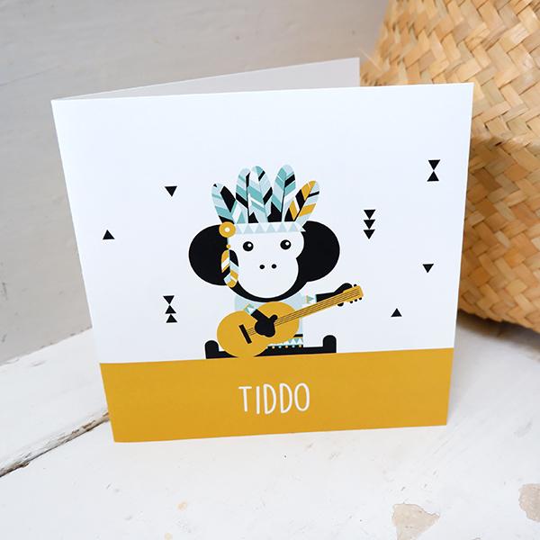 Geboortekaart Indiaan Aap oker geel ANNIdesign 01