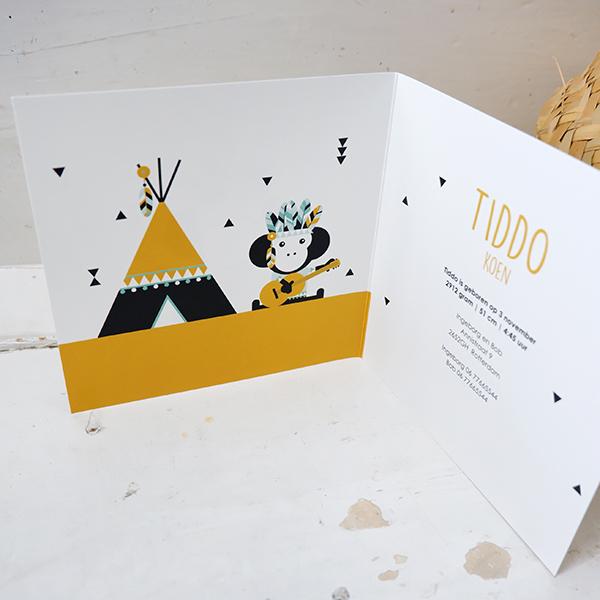 Geboortekaart Indiaan Aap oker geel ANNIdesign 02