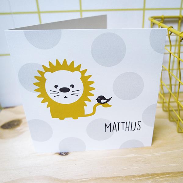 Geboortekaart Leeuw met stip ANNIdesign 01