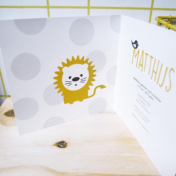 Geboortekaart Leeuw met stip ANNIdesign 02