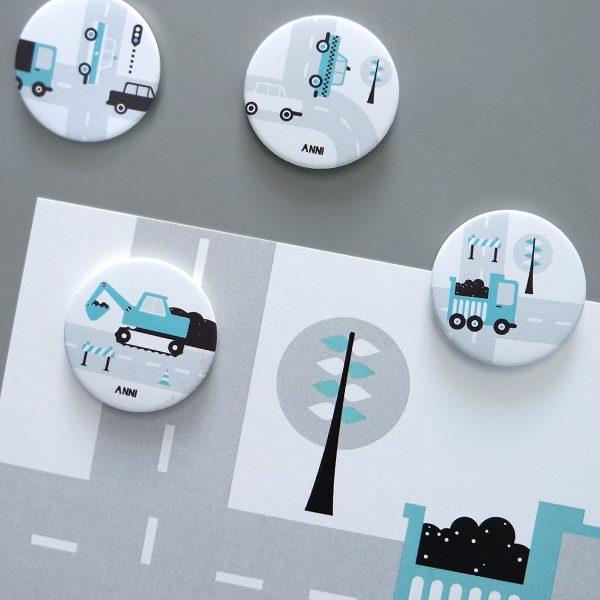 Magneten Voertuigen blauw ANNIdesign 01