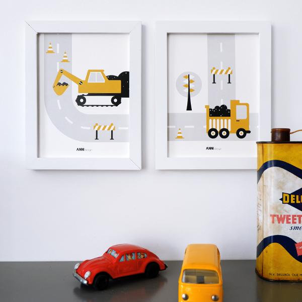 Poster set Voertuigen Graafmachine oker ANNIdesign 03