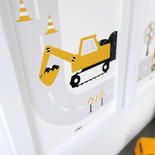 Poster set Voertuigen Graafmachine oker ANNIdesign 04