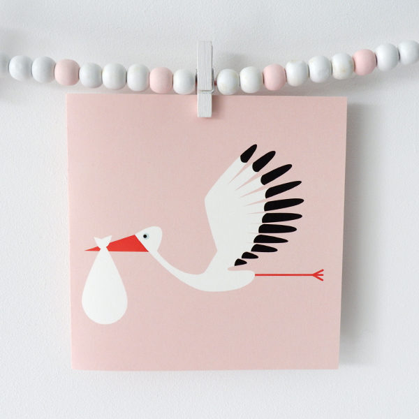Wenskaart Ooievaar ANNIdesign roze 01