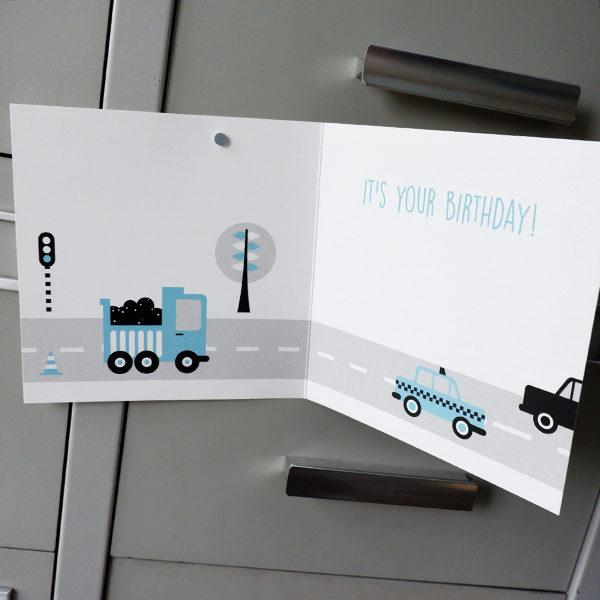 Wenskaart Voertuigen blauw ANNIdesign 02