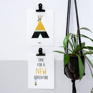 Poster set Indiaan Tipi oker geel ANNIdesign 03