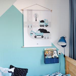 Textielposter voertuigen Graafmachine blauw_ANNIdesign