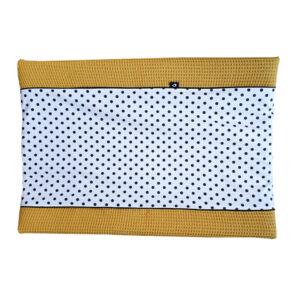 Aankleedkussenhoes Stip op wit Wafelstof oker geel ANNIdesign S01