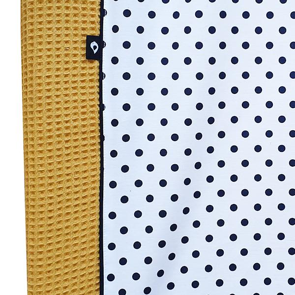 Aankleedkussenhoes Stip op wit Wafelstof oker geel ANNIdesign S02