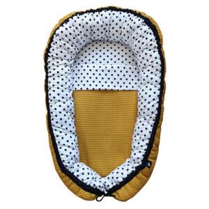 Babynestje compleet Stip op wit Wafelstof oker geel ANNIdesign 01