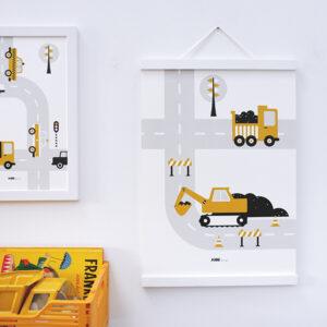 Poster Voertuigen Graafmachine oker geel ANNIdesign 03