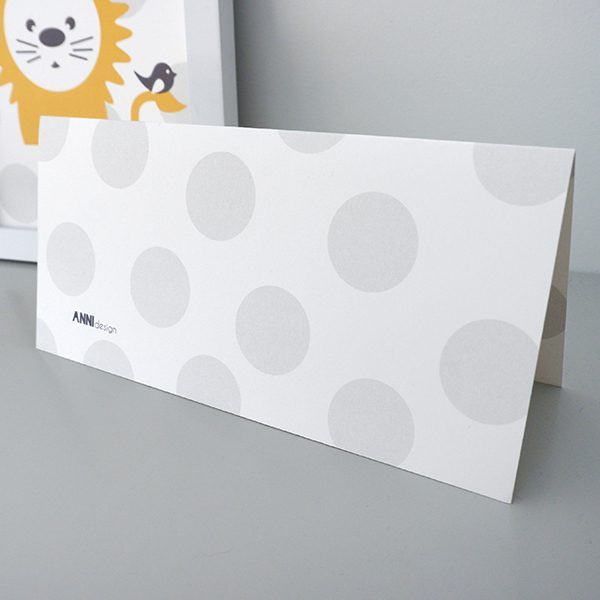 Geboortekaart Leeuw stip grijs ANNIdesign achterkant