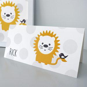 Geboortekaart Leeuw stip grijs ANNIdesign voorkant
