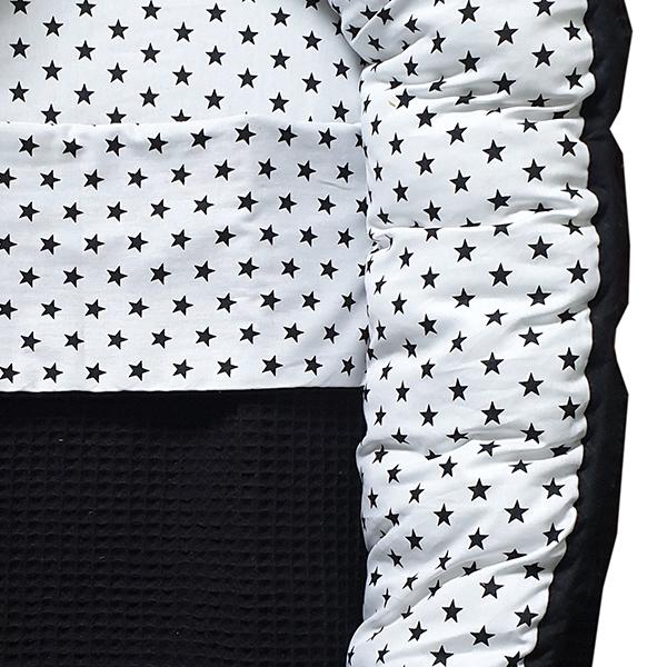 Babynestje compleet Ster op wit Wafelstof zwart ANNIdesign 02