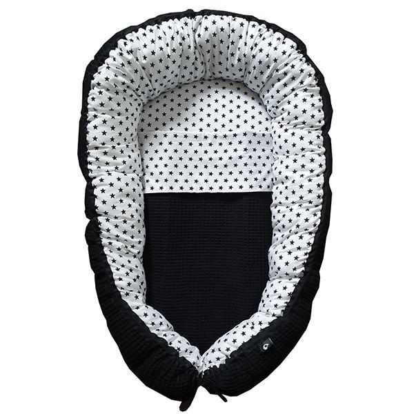 Babynestje compleet Ster op wit Wafelstof zwart ANNIdesign