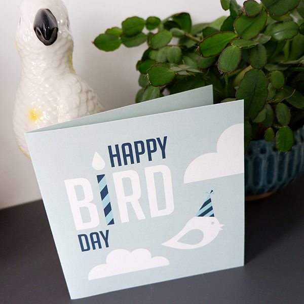 Wenskaart Happy Bird blauw ANNIdesign 01