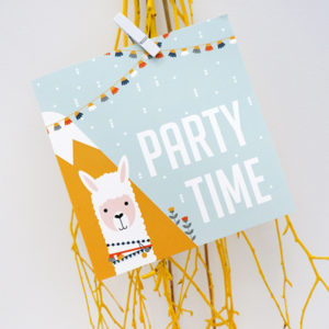 Wenskaart Lama Party time ANNIdesign 01