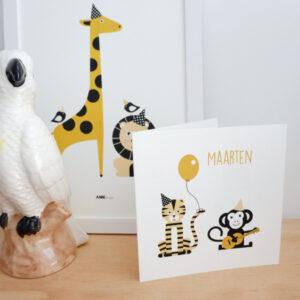 Geboortekaart Feestbeest oker geel ANNIdesign 01