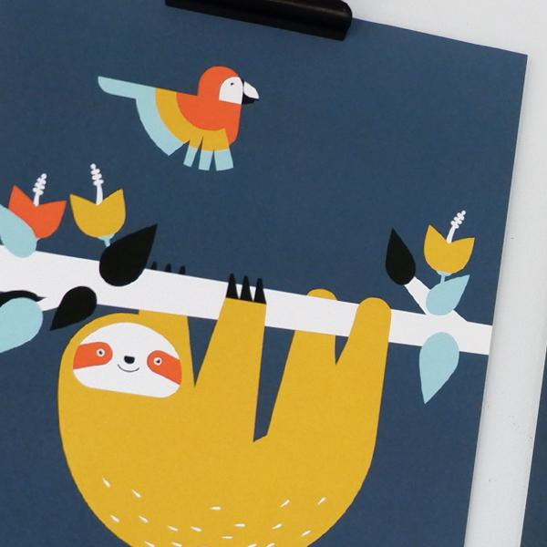 Poster set Jungle Luiaard Toekan 15x20 donker blauw ANNIdesign 02