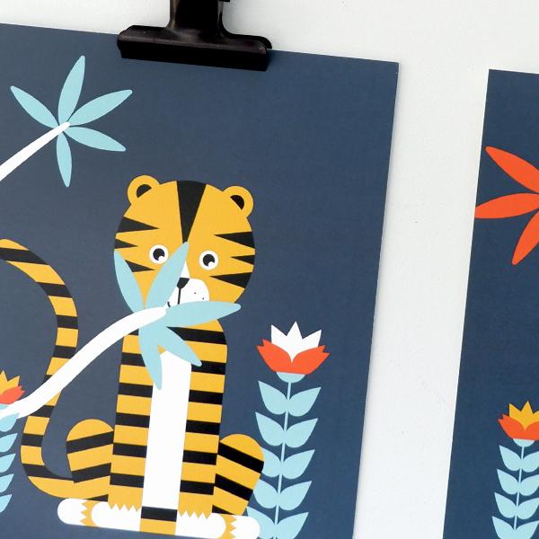 Poster set Jungle Tijger Aap 15x20 donker blauw ANNIdesign 02