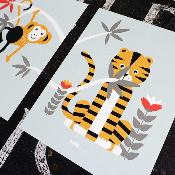 Poster set Jungle tijger en aap old green_ANNIdesign_02