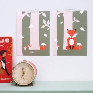 Poster set Vos in Bos oud roze + olijf groen ANNIdesign 01