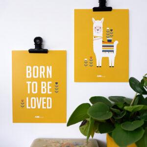 Posterset Lama oker geel ANNIdesign 03