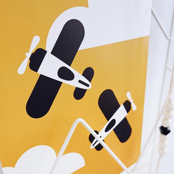 Poster Vliegtuig en wolken oker geel ANNIdesign 02