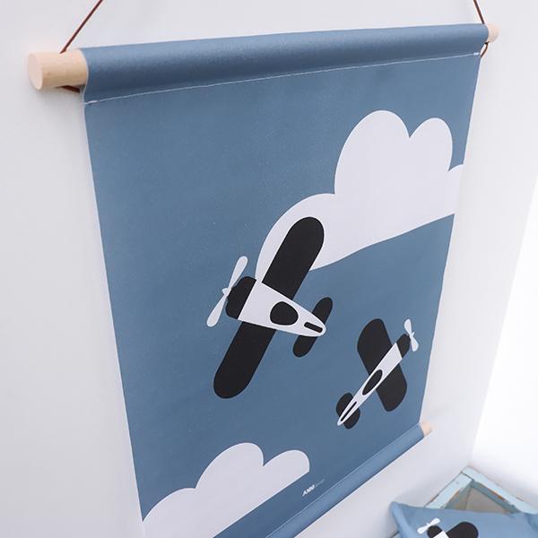 Textielposter Vliegtuig in wolken jeans blauw ANNIdesign 04