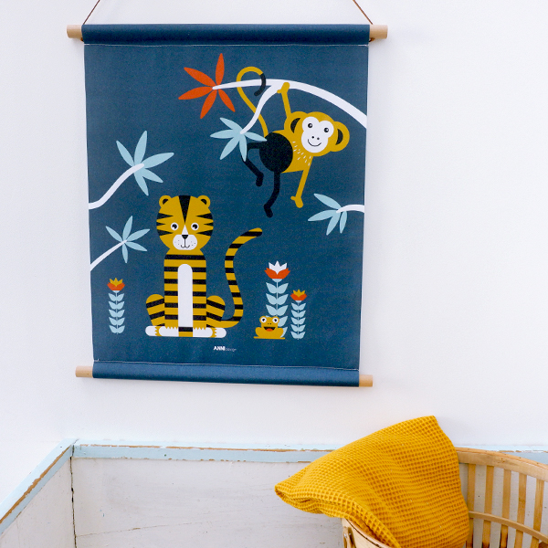 Textielposter Jungle Tijger + Aap donker blauw_ANNIdesign_03
