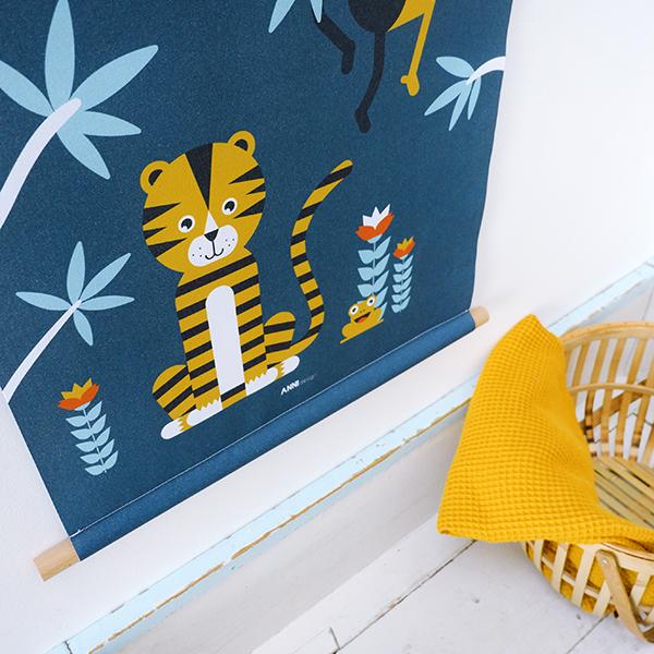 Textielposter Jungle Tijger + Aap donker blauw_ANNIdesign_04