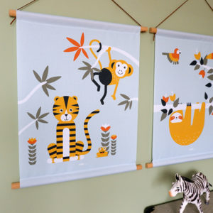 Textielposter Jungle Tijger en Aap old green_ANNIdesign_01
