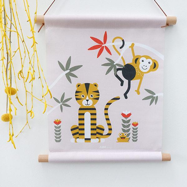 Textielposter Jungle Tijger en Aap oud roze_ANNIdesign_01