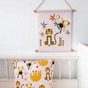 Textielposter Jungle Tijger en Aap oud roze_ANNIdesign_03