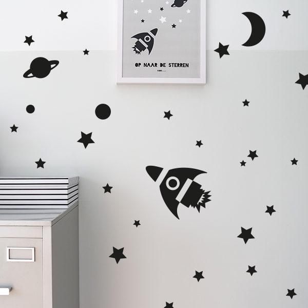 Muursticker Sterren Babykamer.Muursticker Set Raket In Zwart Voor Kinderkamer Annidesign