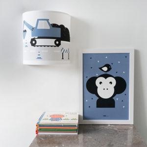Poster Apenkop jeansblauw ANNIdesign 01