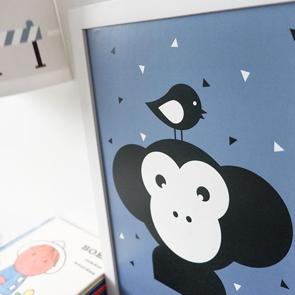 Poster Apenkop jeansblauw ANNIdesign 02