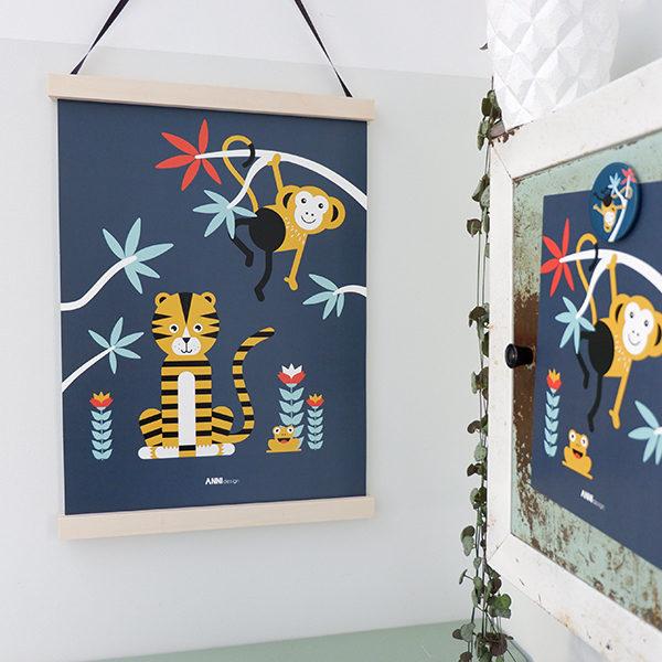 Poster Jungle Tijger + Aap donker blauw_ANNIdesign_01