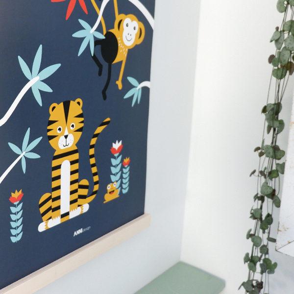 Poster Jungle Tijger + Aap donker blauw_ANNIdesign_02