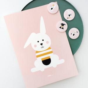 Poster Konijn met shirt_oud roze_ANNIdesign